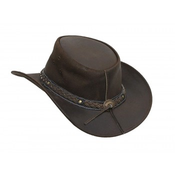 Mens Vintage Brown Wide Brim Cowboy Aussie Style Western Bush Hat