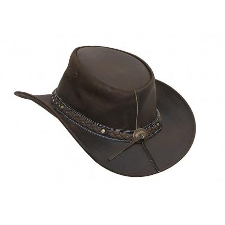 Mens Vintage Brown Wide Brim Cowboy Aussie Style Western Bush Hat