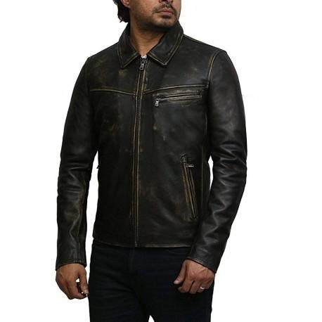 Mens Genuine Leather Biker Jacket Cow Hide