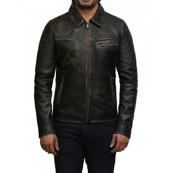 Mens Genuine Leather Biker Jacket Cow Hide