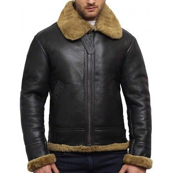 Men's Aviator B3 World War2 Real Shearling Sheepskin Flying Jacket - Austin