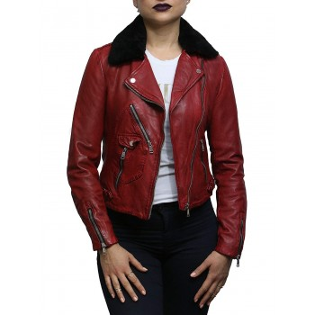 Womens Genuine Leather Biker Jacket Detachable Real Sheepskin Collar