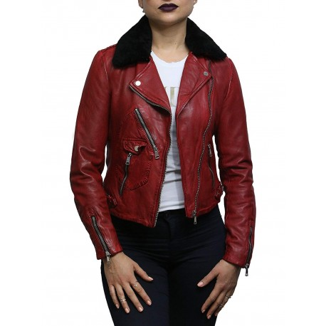 Womens Genuine Leather Biker Jacket Detachable Real Sheepskin Collar