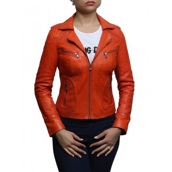 Ladies Women's Vintage Real Leather Biker Jacket-Hannah