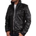 Men's Black Leather Jacket - Navas
