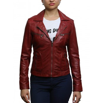 Ladies Women's Tan Vintage Real Leather Biker Jacket-Hannah