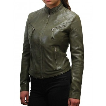 Vintage Womens real Leather Biker Jacket Lambskin