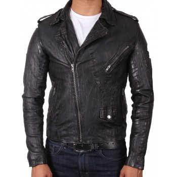 Men's Leather Biker Jacket in Black Croc - Zack