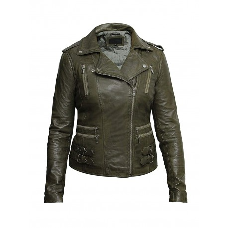 Women Waxed Teal Leather Biker Jacket - Moss