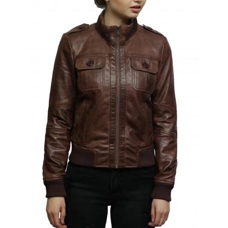 Ladies Leather Jacket Bomber Slim Fit Style