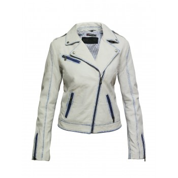 Women Leather Biker Jacket Classic Slim fit