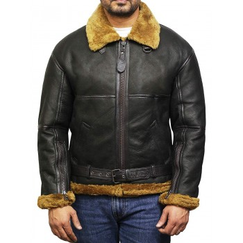 Men's Aviator Real Shearling Sheepskin Leather Bomber Flying Jacket - Usher
