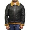 Men's Aviator Real Shearling Sheepskin Leather Bomber Flying Jacket - Usher