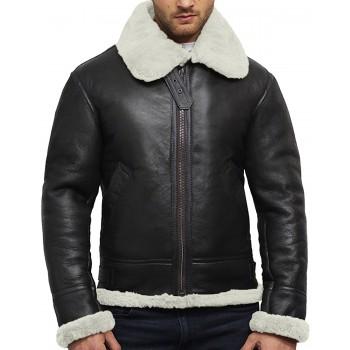Men's Aviator Real Shearling Sheepskin Leather Flying Jacket