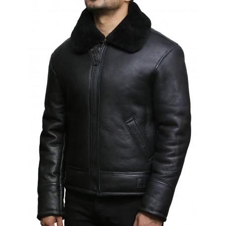 Men's Real Shearling Sheepskin Leather Flying Jacket Aviator Black BNWT