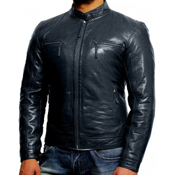 Men's Navy Lambskin Genuine Leather Biker Jacket