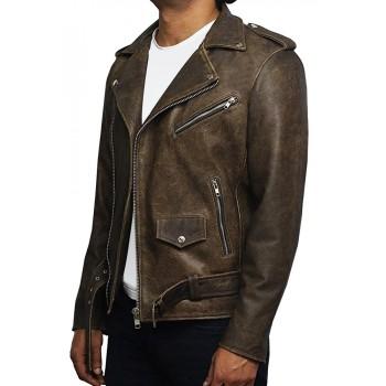 Men's Genuine Leather Biker Jacket Cowhide Brando Rustic