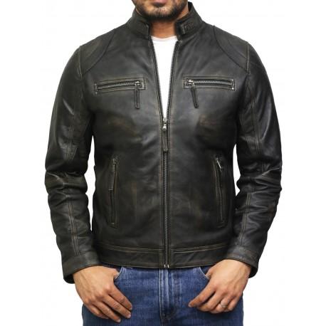 Men's Distressed Leather Biker Jacket Black Waxed Leather Jacket