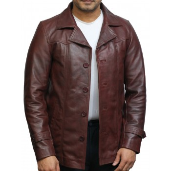 BRANDSLOCK Men's Leather Coat Genuine Lambskin Car Coat