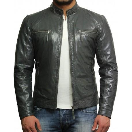 Men's Black Lambskin Genuine Leather Biker Jacket