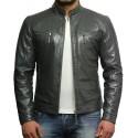 Men's Grey Lambskin Genuine Leather Biker Jacket