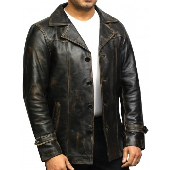 Men's Genuine Lambskin Leather Four-Button Lightweight Coat