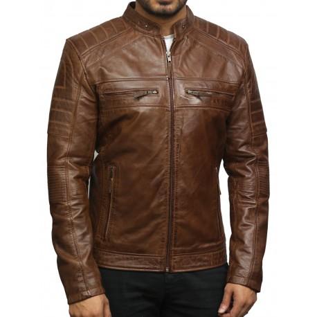 Men's Brown Leather Jacket - Asasin