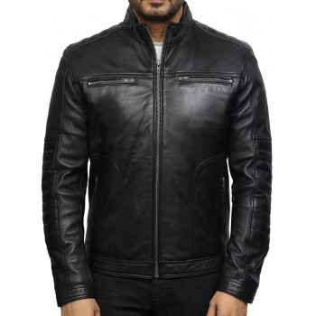 Men's Black Genuine Leather Biker Jacket