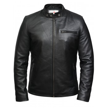 Men's Genuine Leather Biker Jacket - Black