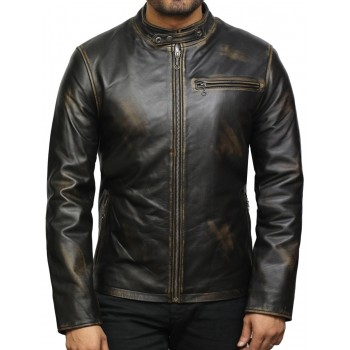 Men's Genuine Leather Biker Jacket - Black Rub Off