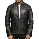 Men's Genuine Leather Biker Jacket - Black Rub Off