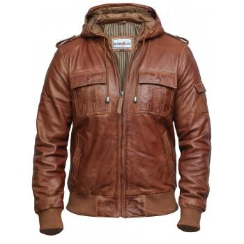 Men's Genuine Leather Biker Jacket - Black