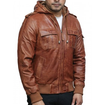 Men's Genuine Leather Biker Jacket With Hood - Tan