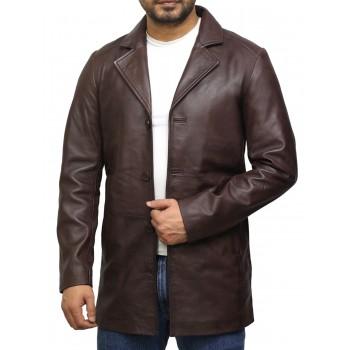 Men's Genuine Lambskin Leather Three-Button Lightweight Coat