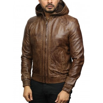 Mens Brown Leather Hooded Pilot Jacket