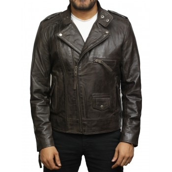 Men's Vintage Brown Front Zipped Leather jacket