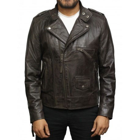 Men's Vintage Brown Front Zipped Leather jacket