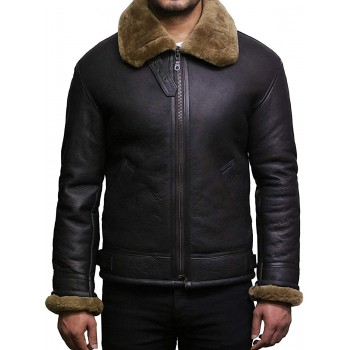 Men's Real Shearling Sheepskin Leather Flying Jacket Aviator Ginger Brown BNWT