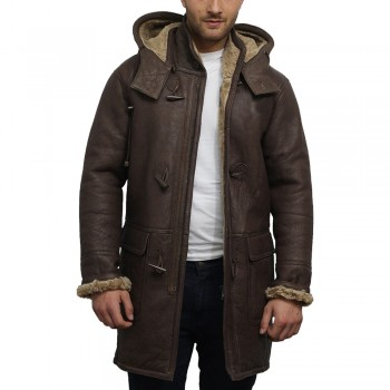 Men's leather shearling sheepskin duffle coat - Alaska