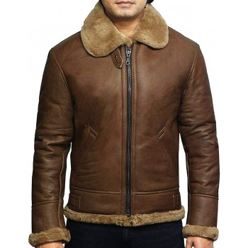 Men's RAF Aviator Soft Shearling Sheepskin Leather Bomber Flying Jacket