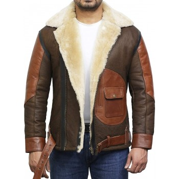 Men's Genuine Shearling Sheepskin Leather Jacket Aviator Bomber Flying Pilot