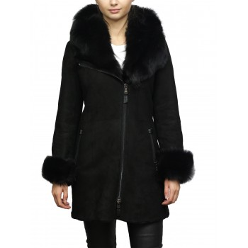 Women's Black Suede Leather Sheepskin Hooded long coat