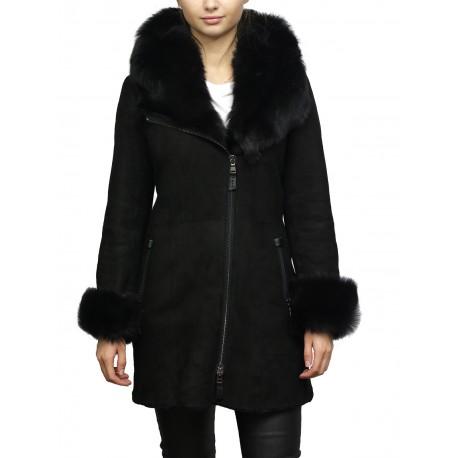 Women's Black Suede Leather Sheepskin Hooded long coat