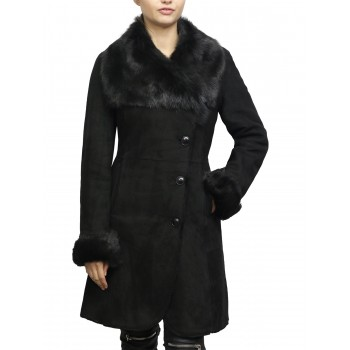 Women Shearling Sheepskin Coat Suede Nikita-Black