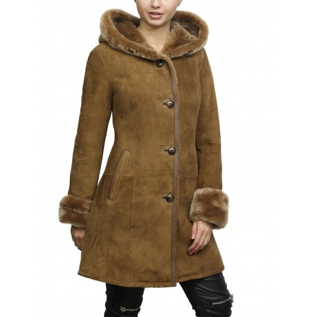 Women Shearling sheepskin Jacket Coat Anexe-Tan
