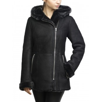 Women Shearling sheepskin Jacket Coat Miranda-BLK