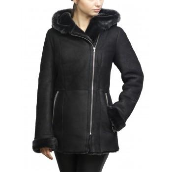 Women Shearling sheepskin Jacket Coat Milicap