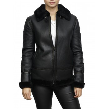 Women's World War II Shearling Sheepskin Aviator Black Leather Jacket