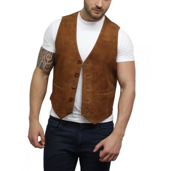 Mens Soft Real Goat Suede Leather Tan Smart Waistcoat Vest