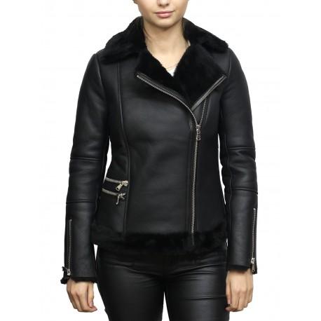 Women's Black Merino Sheepskin Aviator Pilot Leather Jacket
